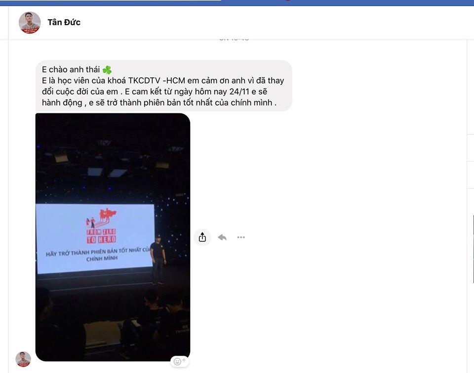 Facebook của tôi và tin nhắn, email ngập tràn những lời cảm ơn, khen tặng, động viên sau khóa học Thiết kế cuộc đời thịnh vượng tại HCM lần #1.
