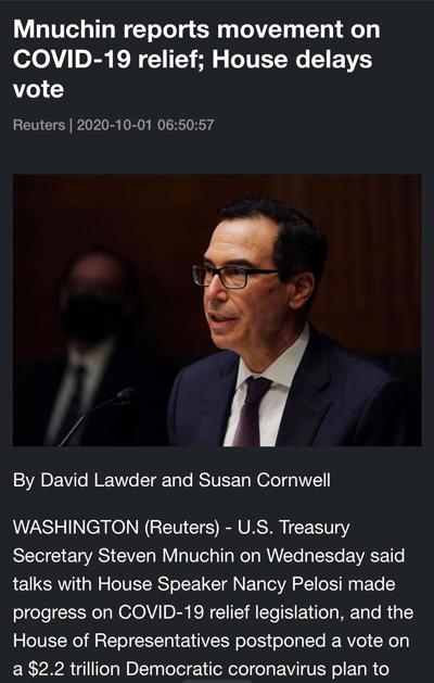 Điểm tin tài chính ngày 1/10/2020